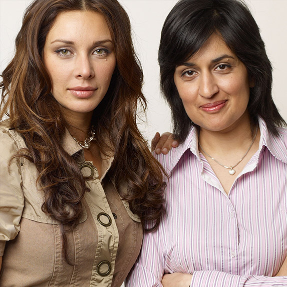 Lisa Ray and director Shamim Sarif of I Can't Think Straight, 2008