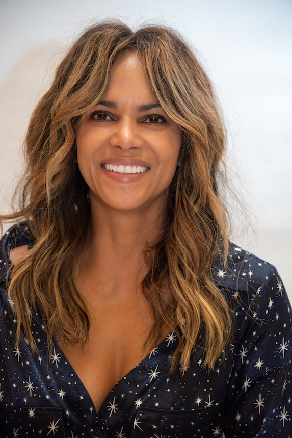 Halle Berry wears her hair in a shaggy, fringed style