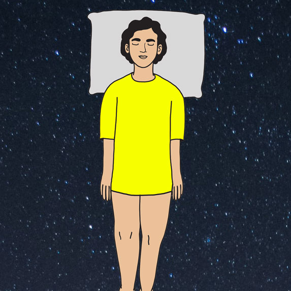 Illustration of the soldier position sleep style.