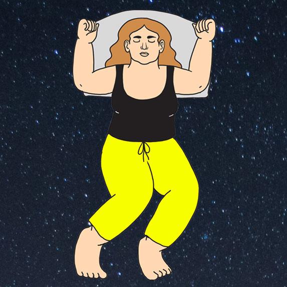 Illustration of the starfish sleep style.