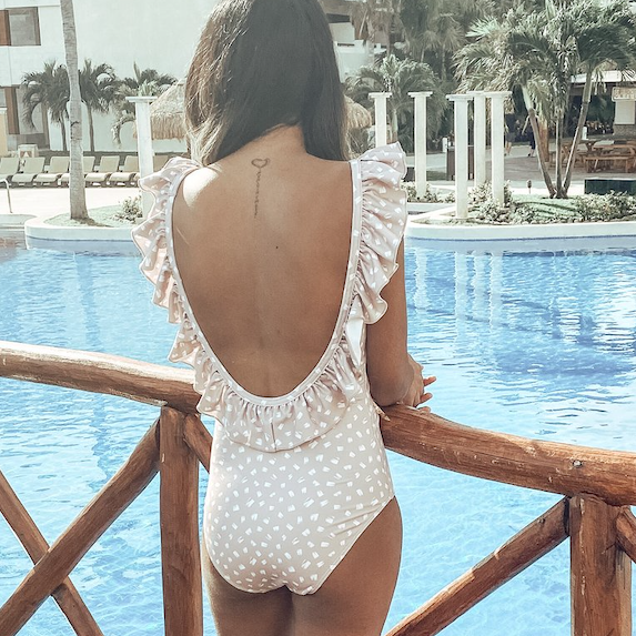 Cute frilly back of bathing suit