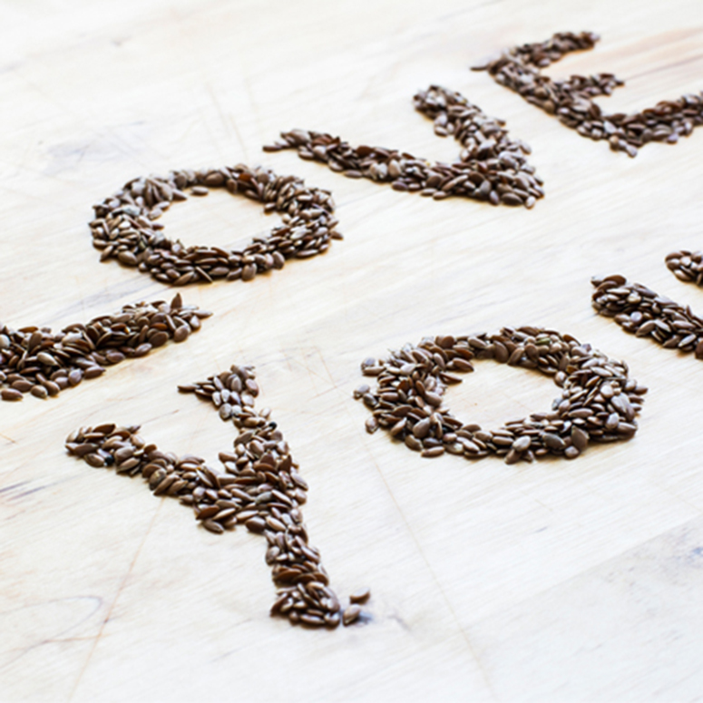 Love you spelled out in coffee beans