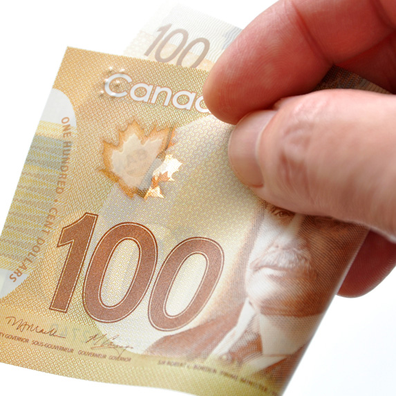 Hand holding $100 bill