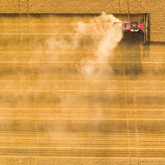 Aerial view of a combine
