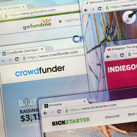 Collage of crowdfunding websites