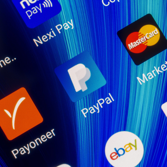 PayPal icon on a smartphone