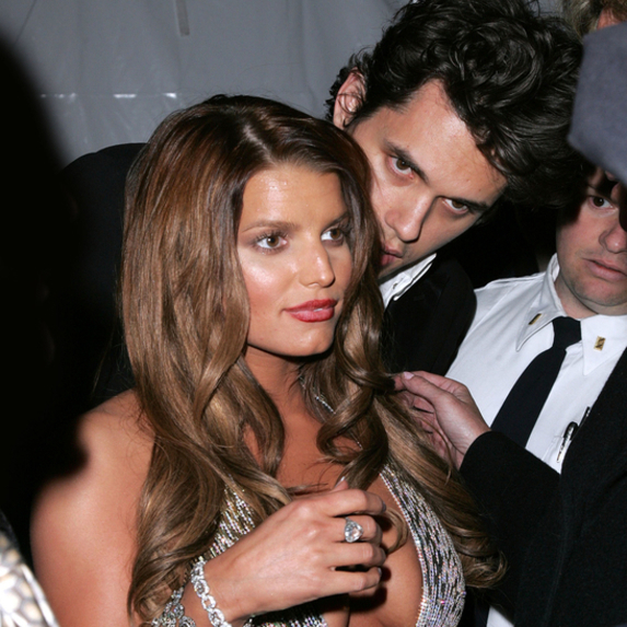 John Mayer and Jessica Simpson getting cosy together at the Metropolitan Museum of Art in New York City, New York