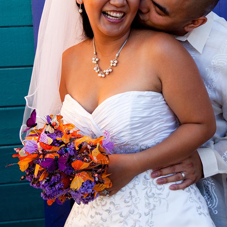 couple wedding kissing