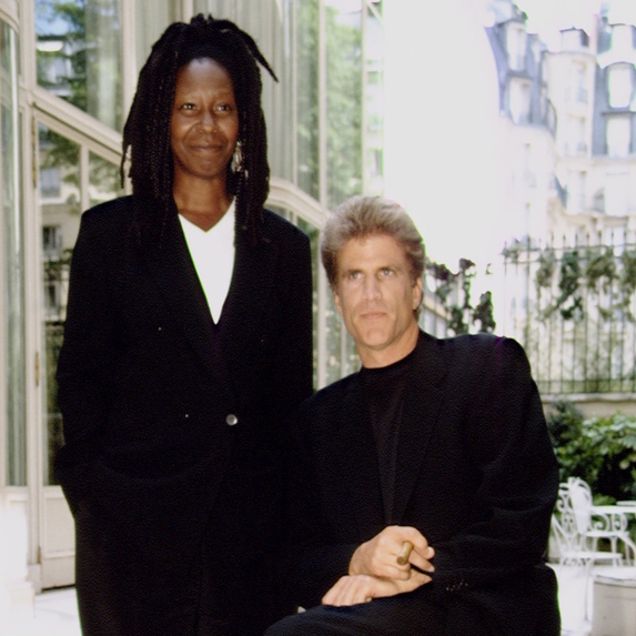 Whoopi Goldberg and Ted Danson posing for a professional photo at the Ritz hotel