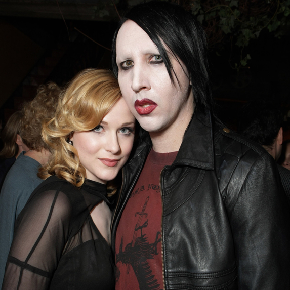 Evan Rachel Wood and Marilyn Manson posing together as a couple at The 32nd Annual Toronto International Film Festival