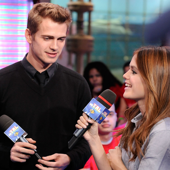 Rachel Bilson and Hayden Christensen together while filming MTV's Total Request Live