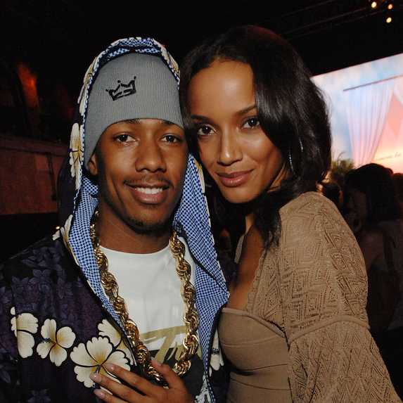 Nick Cannon and Selita Ebanks posing for the camera together at Mercedes-Benz Fashion Week Spring 2008