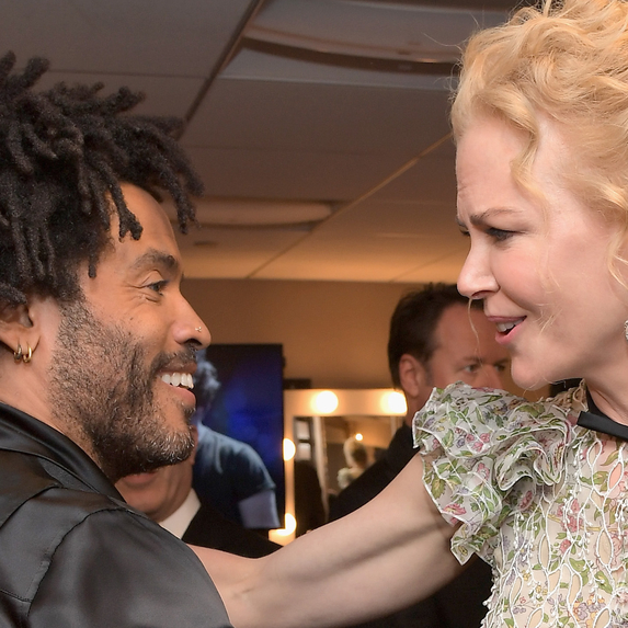 Lenny Kravitz and Nicole Kidman smiling while connecting at the Hollywood Film Awards