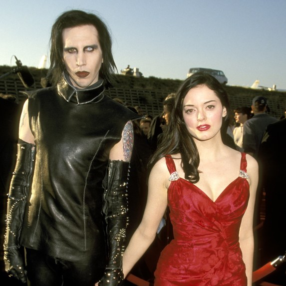 Marilyn Manson and Rose McGowan on the red carpet for the 8th Annual MTV Movie Awards at Barker Hanger in Santa Monica, California
