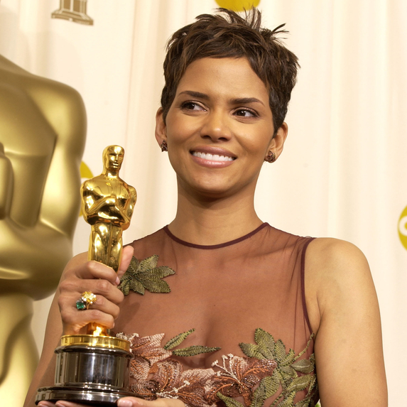 Halle Berry holding her Oscar award at the 74th Annual Academy Awards