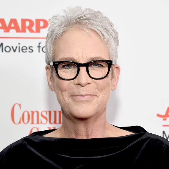 Close up image of Jamie Lee Curtis wearing thick black frames