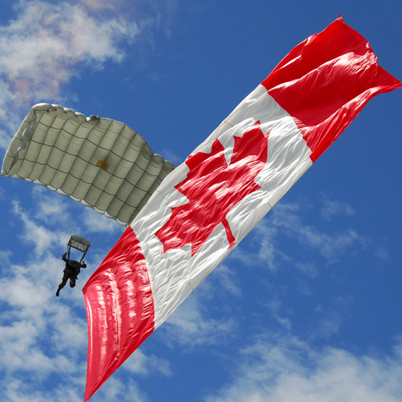 Paratrooper with Canadian flag
