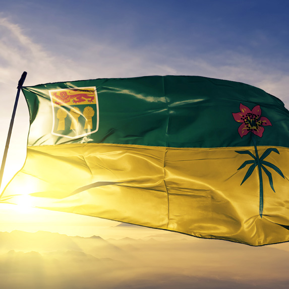 Saskatchewan flag at sunset
