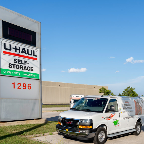 U-Haul sign and rental vehicle