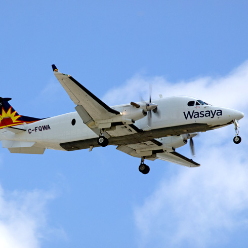 Wasaya Airways plane in the air