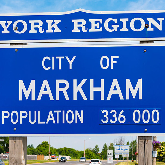 York Region and City of Markham sign