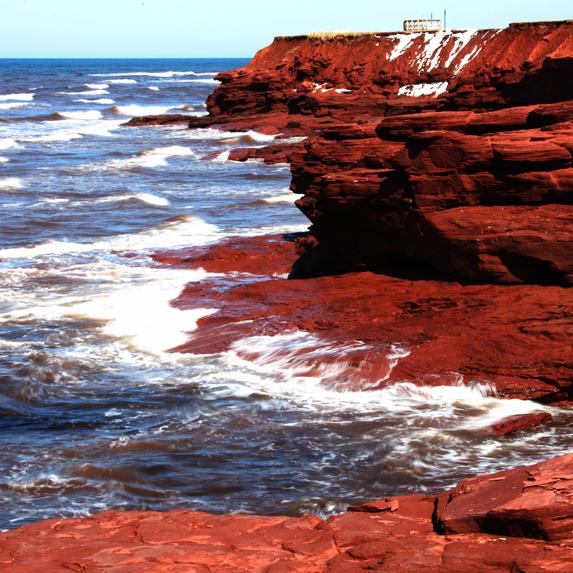 Prince Edward Island red rocks near the water
