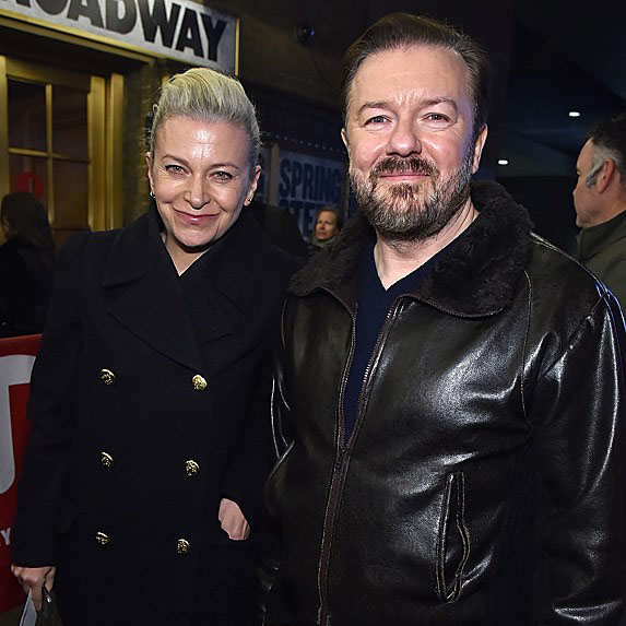 Jane Fallon with her partner Ricky Gervais