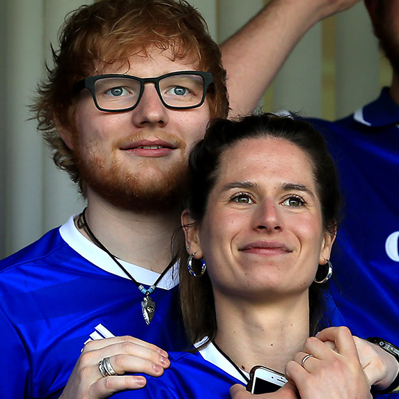 Ed Sheeran with Cherry Seaborn at a game