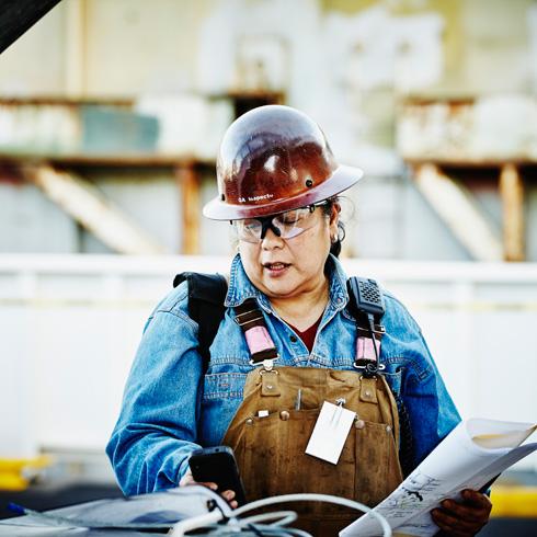 Marine engineer at work
