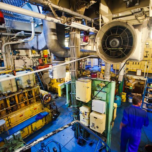 Engine room of a ship