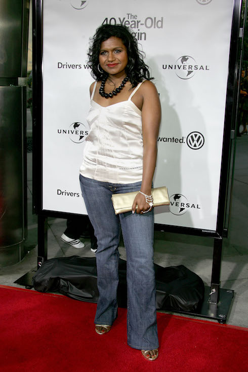 Mindy Kaling wears a silver camisole and jeans to a film premiere in 2005