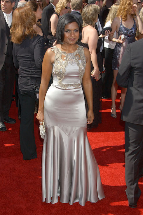 Mindy Kaling wears a silver gown to the 59th Annual Primetime Emmy Awards in 2007