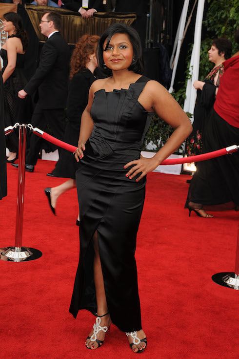 Mindy Kaling wears a black gown on the red carpet for the SAG Awards in 2008