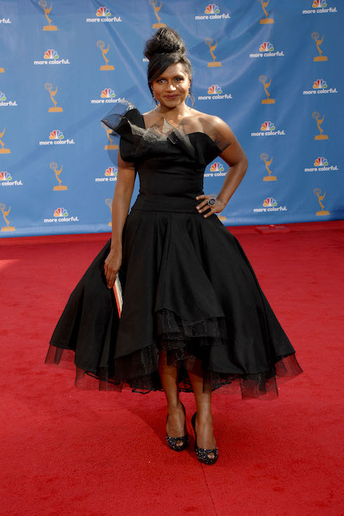 Mindy Kaling wears a black tulle gown for the Primetime Emmy Awards in 2010
