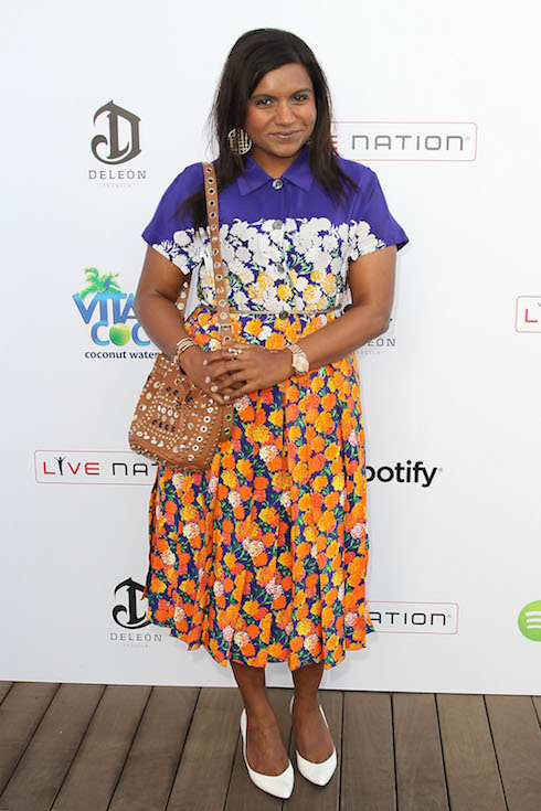 Mindy Kaling wears a print dress to a party in 2013