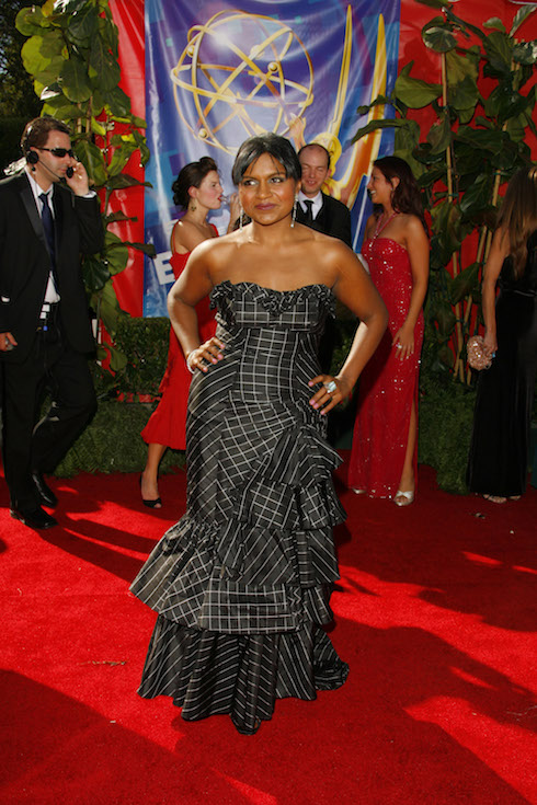 Mindy Kaling wears a black strapless gown to the 58th Annual Primetime Emmy Awards in 2006