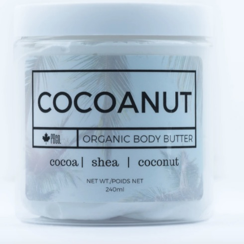 Jar of white, whipped body butter