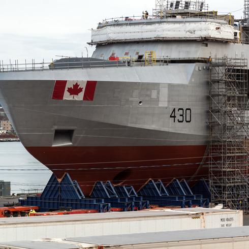 Ship under construction in Halifax