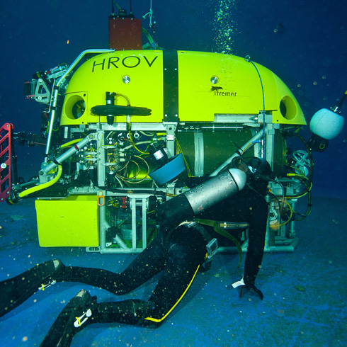Oceanographer working with a submersible