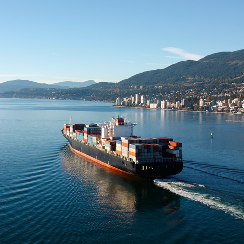 Container ship leaving Vancouver