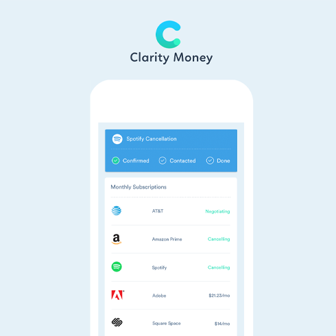 White phone with clarity money overview