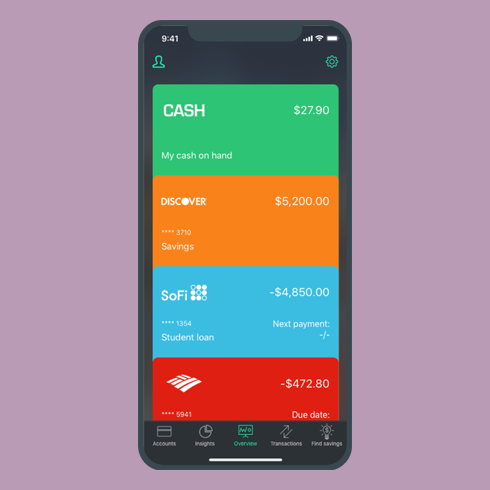 An overview of PocketGuard on an illustrated phone showing deposit accounts and sums
