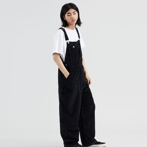 black baggy overalls
