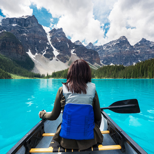 Person in a canoe on a lake