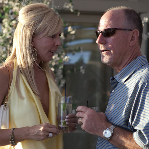 Vicki and Donn Gunvalson share a drink