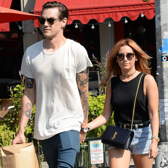 Actress Ashley Tisdale and Christopher French are seen walking in Soho, New York City.