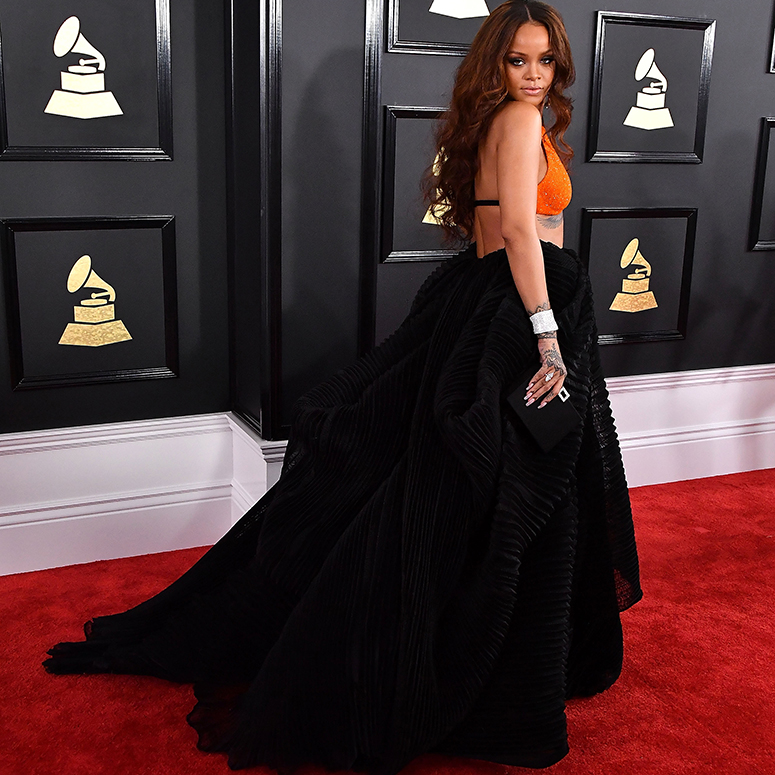 Rihanna arrives at the 59th GRAMMY Awards