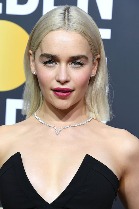 Emilia Clarke wears her hair in a platinum-blonde hairstyle