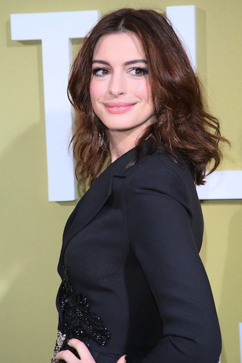 Anne Hathaway with a brunette hairstyle