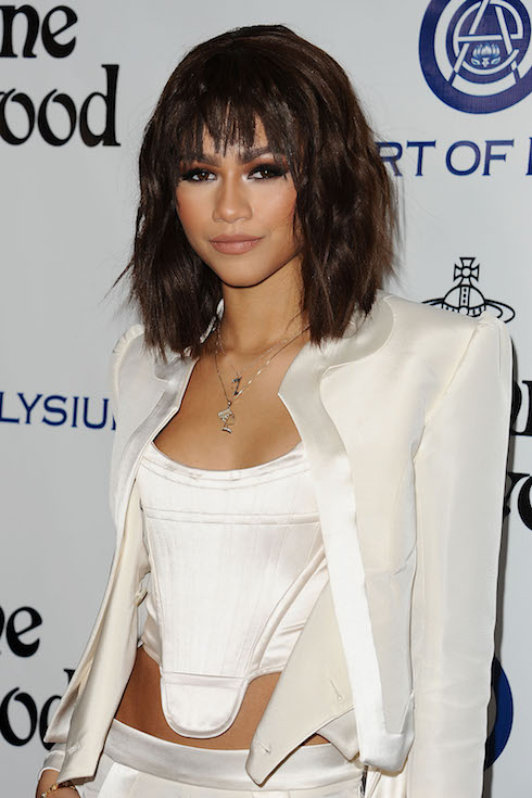 Zendaya with a brunette hairstyle